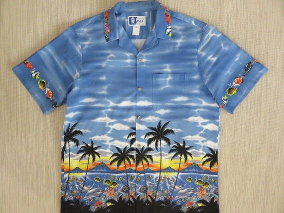 Hawaiian shirt mens rjc limited 80s fish underwater ocean pop for Fish hawaiian shirt