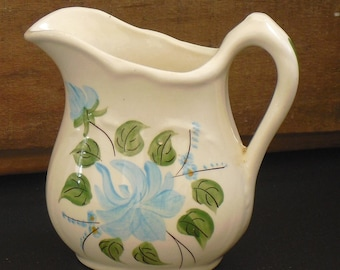 Vintage Cash Family Pottery, White Pitcher Vase with Blue Flowers, Erwin, Tennessee, Pottery, Clinchfield Pottery, Old Southern Potteries