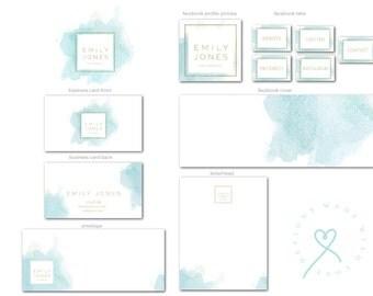 Original Branding Kit,Branding Package,Watercolor Logo,Logo Design,Business Card Design, Facebook Cover