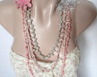 Bohemian crochet necklace,Crochet bead work,crochet flower necklace,Bohemian necklace,pink necklace
