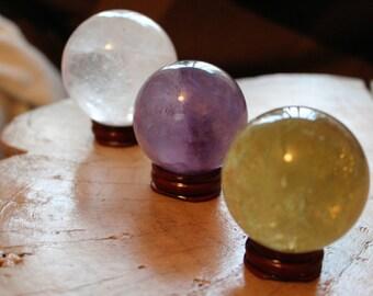 "Set Of 3 Grade""A"" Crystal Balls Amethyst-Citrine-Quartz"