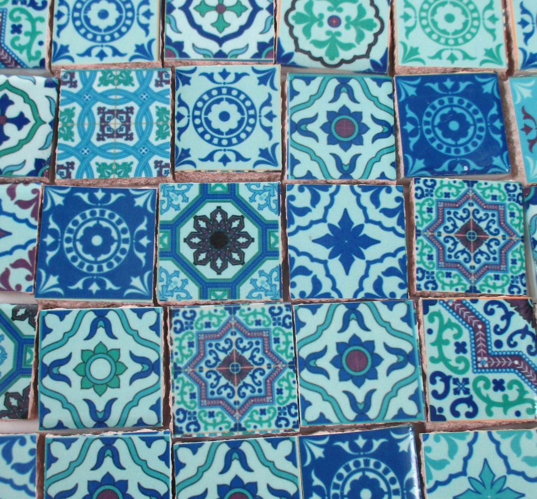ceramic mosaic tiles blue green medallions moroccan tile mosaic blue green tile pieces 35 pieces mosaic art mixed media artjewelry