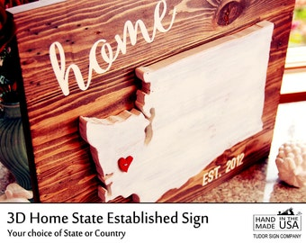 Washington State Sign Family Established Sign Rustic Home Decor Custom Sign Personalized Anniversary Gift for Wedding Sign Housewarming Gift