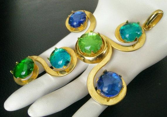 Authentic vintage Philipp Ferrandis extra large cross pendant with large colorful gripoix stones
