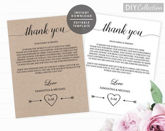 Printable Wedding Thank You Note, Thank You Note Template, Instant Download, Editable PDF, GD_WT118