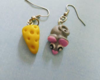 Earrings mouse and cheese