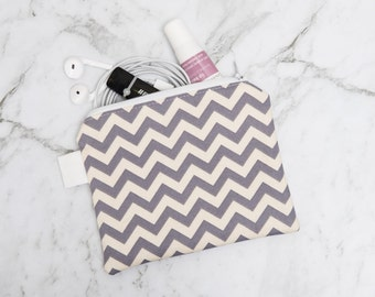 Grey Chevron Zippered Pouch / Makeup purse / Accessory phone pouch / card holder / coin purse