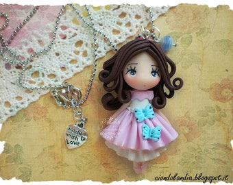 Lady butterfly Polymer clay necklace