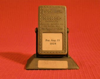 Vintage brass flip calendar--B.O. Radio Co.--Great piece of advertising