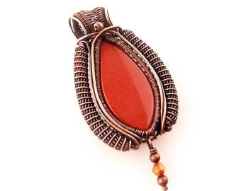 goldstone necklace-wire wrapped pendant-copper wire necklace-handmade necklace-wire wrapped stone-wire weaved necklace-Melissa Wood Jewelry