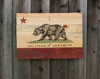 California Republic State Flag Hand Painted On Reclaimed