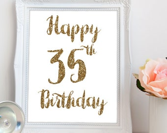 Happy 35th PRINTABLE, Happy 35th Birthday Printable, 35th Party Printable Sign, 35th Party Printable Decor, Happy 35, INSTANT DOWNLOAD