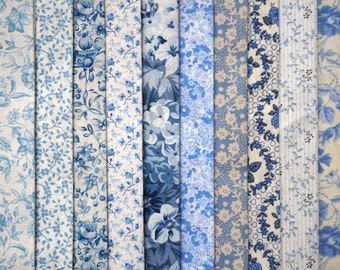 Assorted Shabby Chic Blue Fabric - Fat Quarter Bundle - 10 pieces