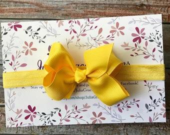 Yellow Headband/Bow Headband/Baby Headband/Newborn Headband/Baby Girl Headband/Yellow Bow Headband/Yellow Baby Bow/Headband/Infant Headband