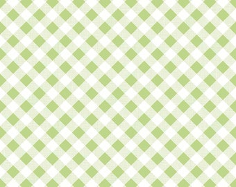 """End of Bolt, Sew Cherry 2 Gingham in Green from the Sew Cherry 2 Collection by Lori Holt for Riley Blake 8""""x44"""""""