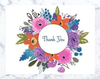 Thank You Card - Floral Circle