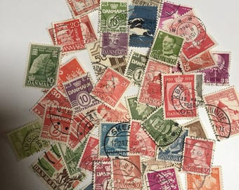 Vintage Lot of 46 Danish Postage Stamps