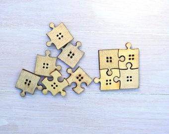 Wooden Buttons Puzzle natural -6 pcs
