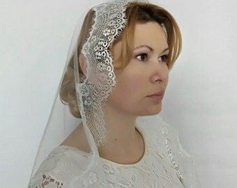 Mantilla Veil, Mantilla Wedding Veil, Catholic Mantilla, Chapel Veil, Wedding Veil Lace Edge Veil Lace Veil Lace Wedding Veil Fingertip Veil