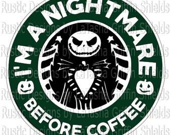 Nightmare Before Coffee / Starbucks Logo / SVG & DXF / Digital File / Jack Skeleton / Halloween