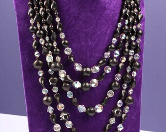 1950s Black Bead and Sparkling Rhinestone Necklace