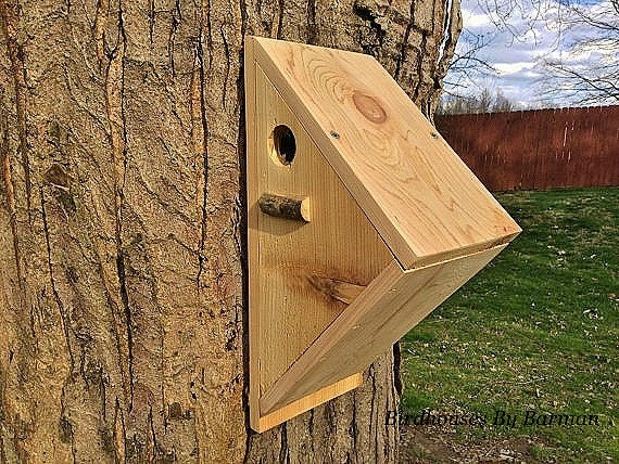 Angled Design Handcrafted Cedar Wooden Bird House Made For