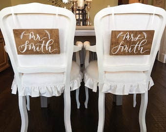 Custom calligraphy wedding chair signs- set of two personalized Mr. and Mrs. wood signs, handlettered chair sign