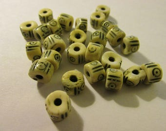 Carved Bone Beads with Tribal Motifs, 10mm, Set of 12