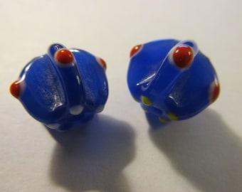 "Royal Blue Lampwork Glass Pumpkin Beads with ""Dots"", 12mm, Set of 2"