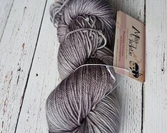 Hand dyed yarn, Superwash 100% Merinos, SPORT Weight, 115 gr Grey