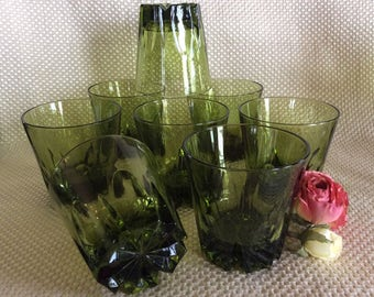 Vintage 8 Retro green low ball tumblers Avocado green 8 oz bar or kitchen glasses