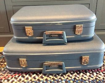 Vintage 2 Retro luggages blue vinyl Holiday weekender travel suitcase home decor storage