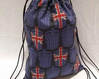 Doctor Who British Flag TARDIS Drawstring Backpack