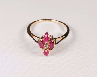 10K Yellow Gold Ruby and Diamond Chip Ring , 1.7 grams, size 5.5