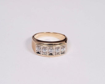 14K Yellow Gold Mens 3/4 ct. tw. Diamond Ring , Size 10