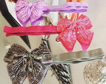 Sequin classic bow headband