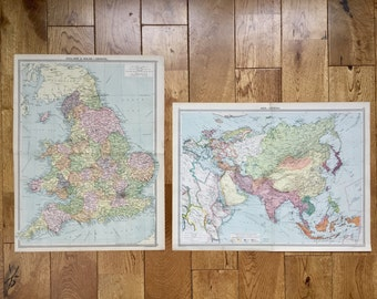 Vintage England and Wales, Asia Vintage Maps