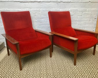 Pair of retro Style Red Armchairs