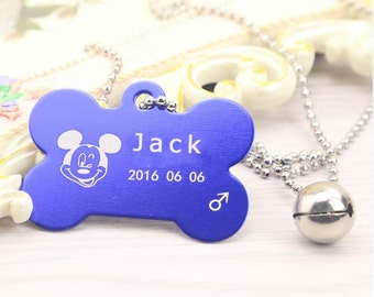Customized Aluminum Alloy Bone Pet Dog ID Tag Engraved with your pet's information Anti-lost dog tags