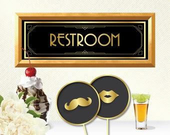 Restroom sign wc sign toilet sign restroom signs restroom door sign wc signs toilet signs gold toilet sign toilet door sign wedding toilet