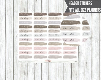 Watercolour Brush Stroke Header Planner Stickers | Today To Do Little Things | Erin Condren Happy Planner Bullet Journals Bujo
