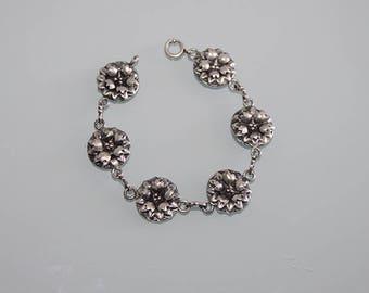 Vintage Sterling Silver Flower Link Bracelet, Sterling Silver Flower Bracelet