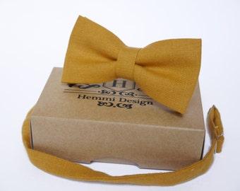 Mustard Bow Tie, Pocket Square, NeckTie / Boy's Bow Ties / Men's Bow Tie / Tie For Men / Suited Pocket Square Boy's / Groomsmen Pack