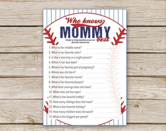 Baseball Who Knows Mommy Best Game - Printable Download - Baseball Baby Shower Game - Lil Slugger - Who knows Mama best