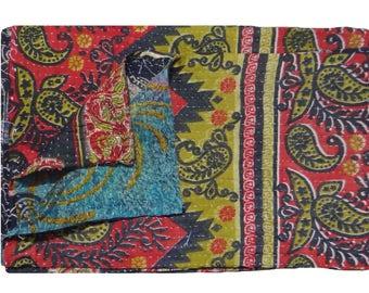 Floral Design ,Reversible Twin Size Quilt ,Cotton Sticth  Bedspread, Vintage Kantha Quilt  ,Throw Quilt #1003