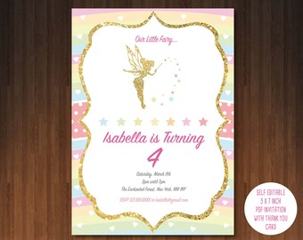 Fairy Invitation, Printable, Customized, DIY invitation, Girl's Fairy Party, Birthday, editable pdf