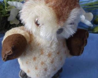 Vintage Plush Owl, 15 cm, wool plush, very cute !