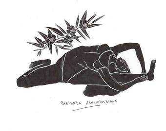 Parivrta Jānushīrsāsana Illustration, Digital Print