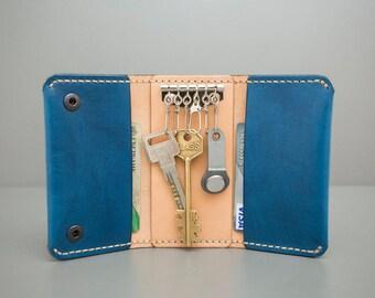 Handcrafted Leather KEYHOLDER, Blue Leather Keyholder, Handstithed, Handpainted, Handcrafted, Leather Keychain, Slim Key Holder
