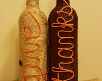 Decorated wine bottles - set of 2 'give thanks', upcycled wine bottles, chic home decor, thanksgiving, fall wine bottle decor